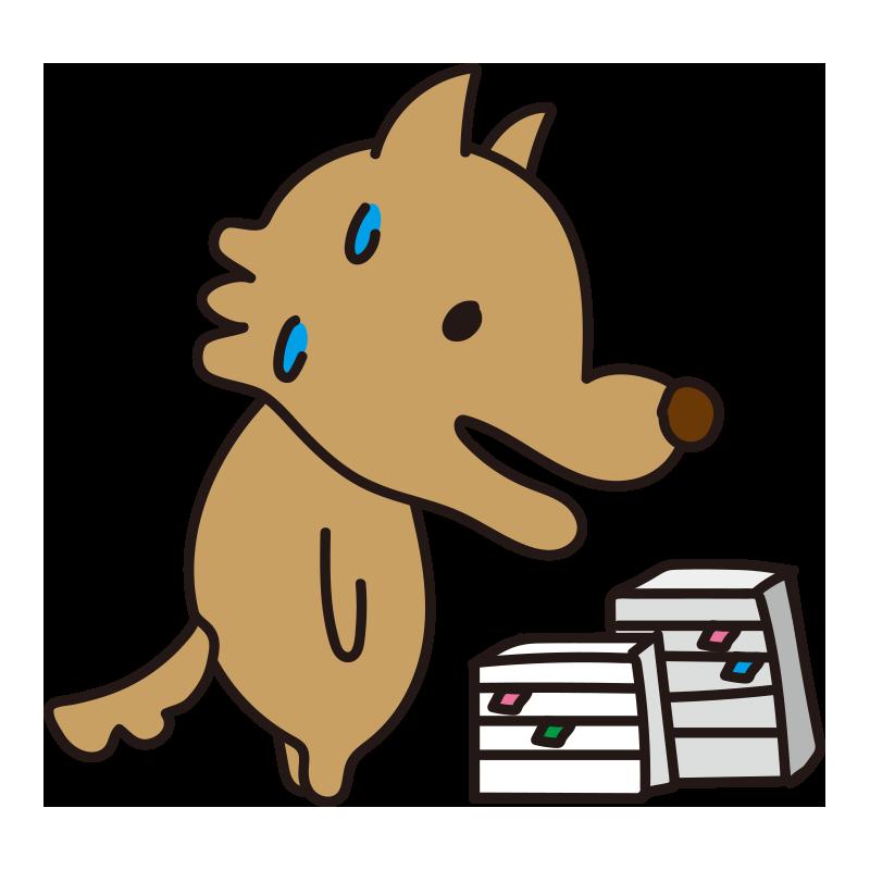 たくさんの書類に焦る怖くないオオカミ