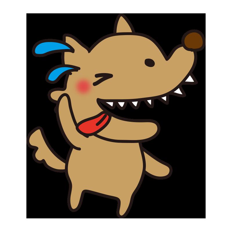 焦って舌を出す怖くないオオカミ