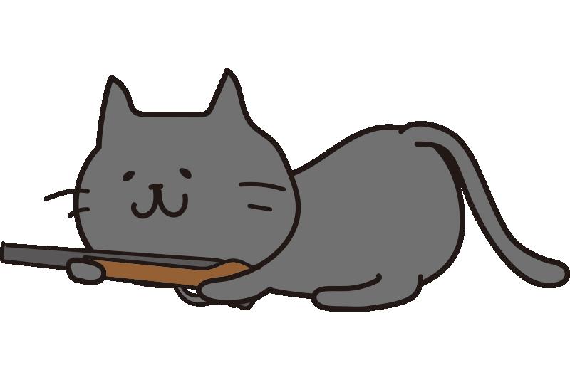 低い姿勢で銃を構えている黒い猫