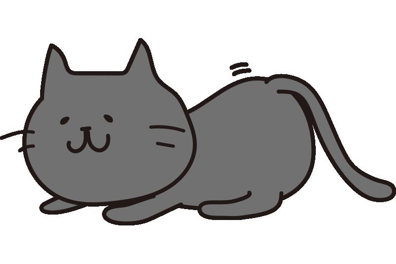 お尻をふりふりして獲物を狙う黒い猫