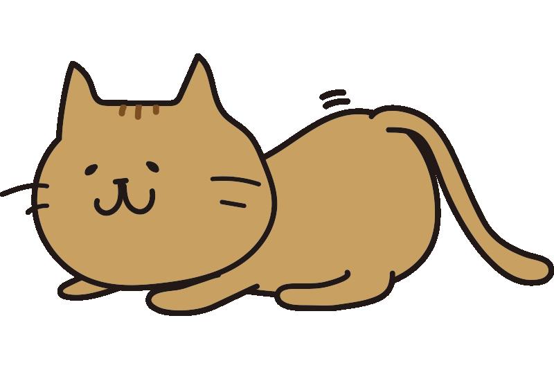 お尻をふりふりして獲物を狙う茶色い猫
