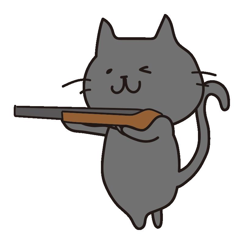 銃を構えている黒い猫