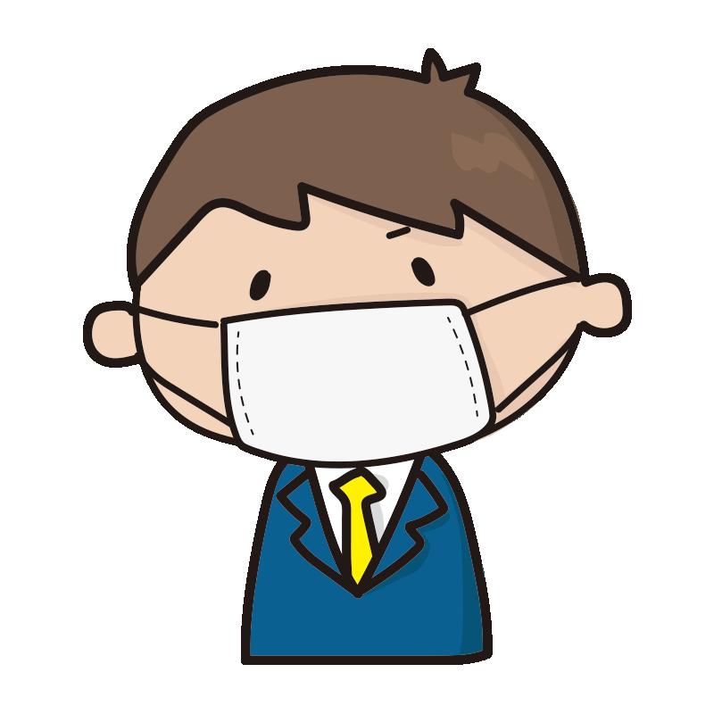 マスクをしている新入社員の男の子